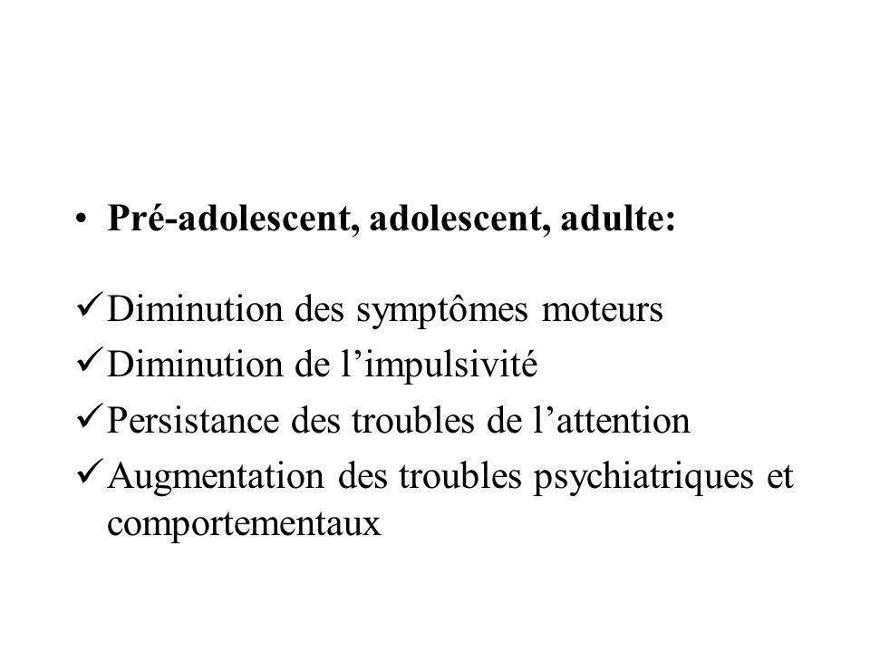 Pré-adolescent, adolescent, adulte: Diminution des symptômes moteurs Diminution de limpulsivité Persistance des troubles de lattention Augmentation de