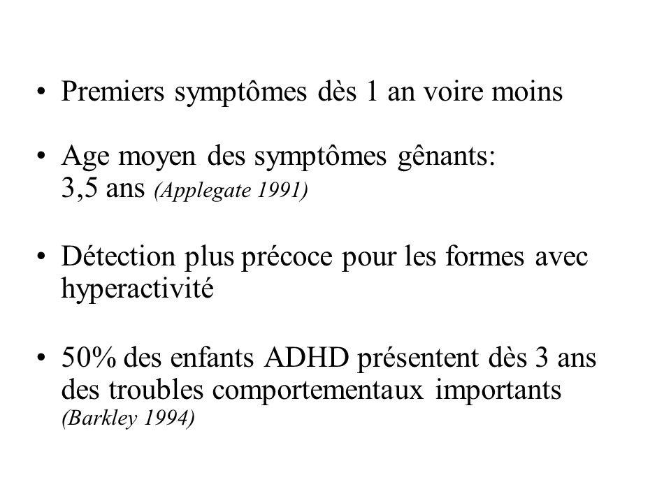 Premiers symptômes dès 1 an voire moins Age moyen des symptômes gênants: 3,5 ans (Applegate 1991) Détection plus précoce pour les formes avec hyperact