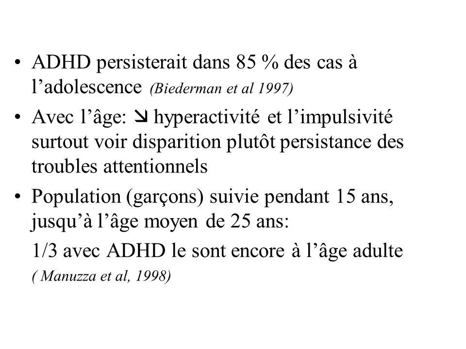 ADHD persisterait dans 85 % des cas à ladolescence (Biederman et al 1997) Avec lâge: hyperactivité et limpulsivité surtout voir disparition plutôt per