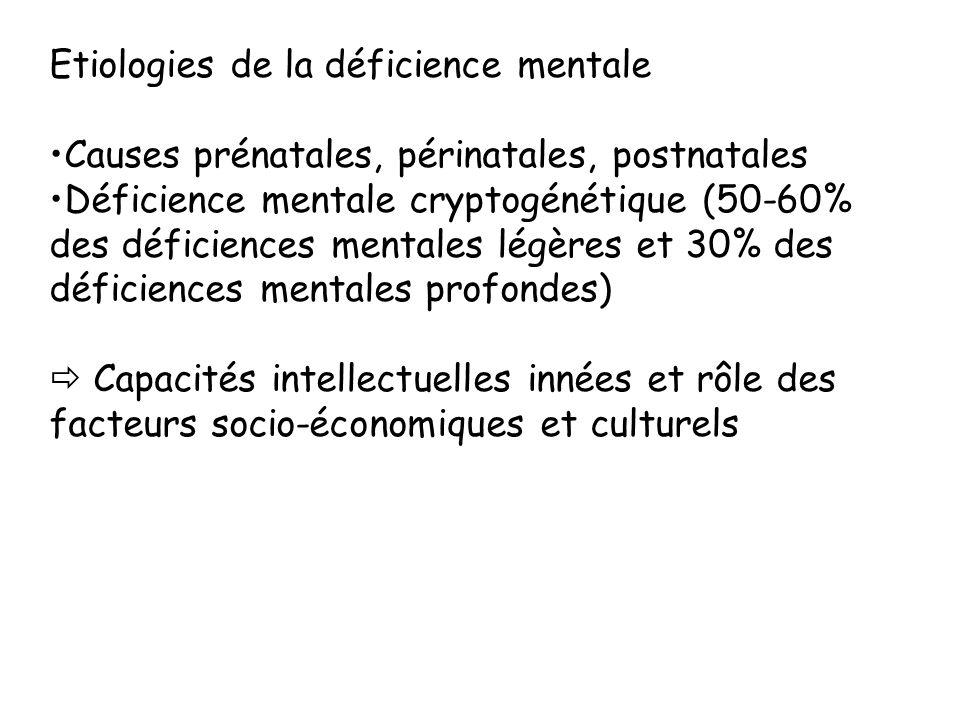 Etiologies de la déficience mentale Causes prénatales, périnatales, postnatales Déficience mentale cryptogénétique (50-60% des déficiences mentales lé