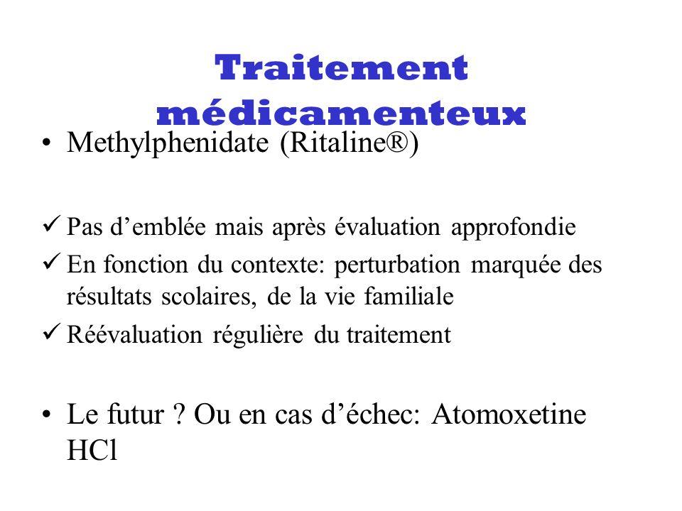 Methylphenidate (Ritaline®) Pas demblée mais après évaluation approfondie En fonction du contexte: perturbation marquée des résultats scolaires, de la