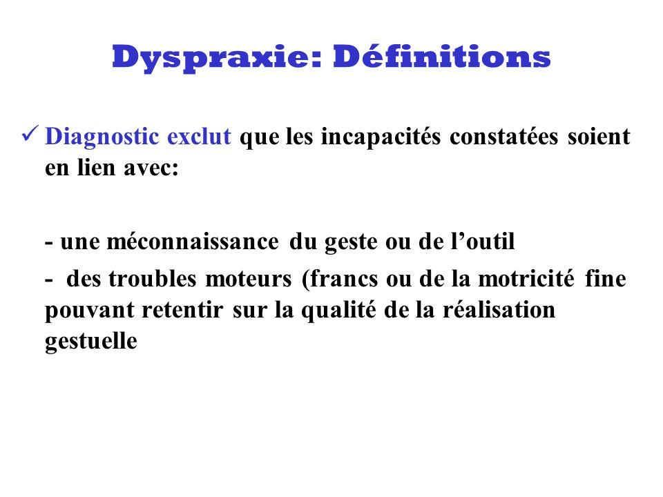 Diagnostic exclut que les incapacités constatées soient en lien avec: - une méconnaissance du geste ou de loutil - des troubles moteurs (francs ou de
