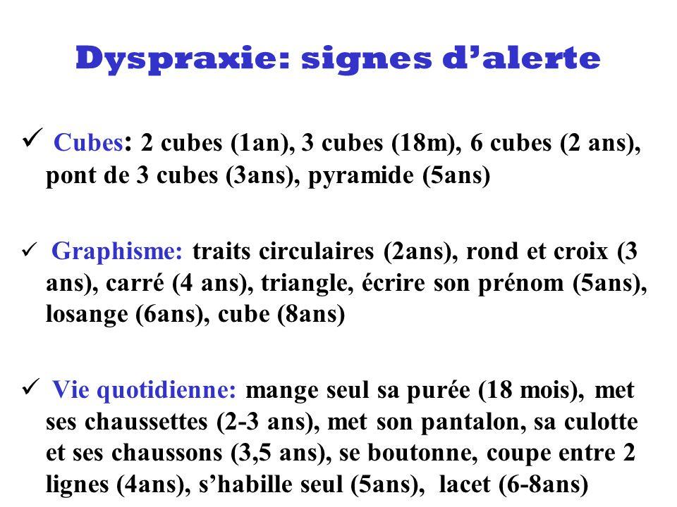 Cubes : 2 cubes (1an), 3 cubes (18m), 6 cubes (2 ans), pont de 3 cubes (3ans), pyramide (5ans) Graphisme: traits circulaires (2ans), rond et croix (3
