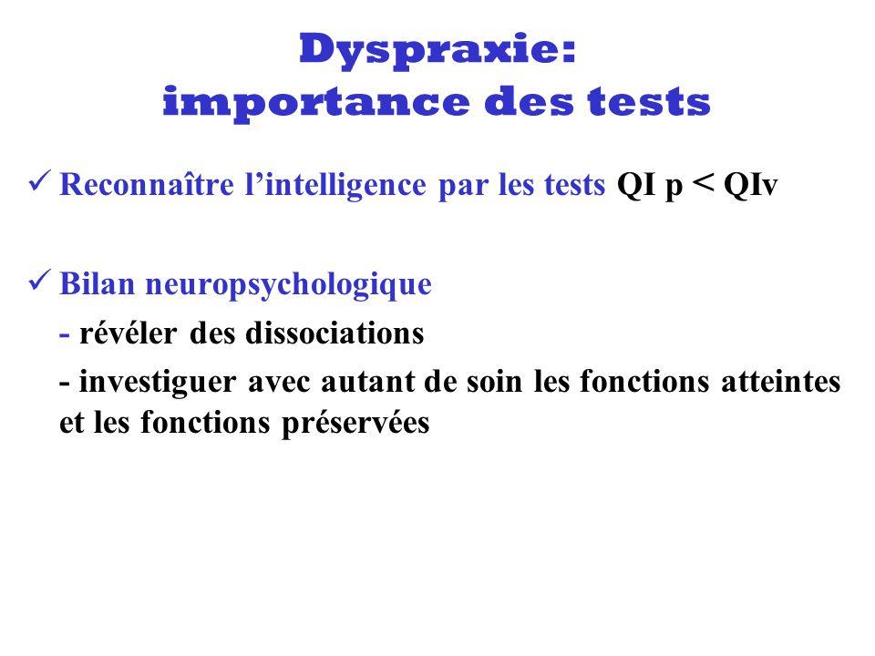 Reconnaître lintelligence par les tests QI p < QIv Bilan neuropsychologique - révéler des dissociations - investiguer avec autant de soin les fonction