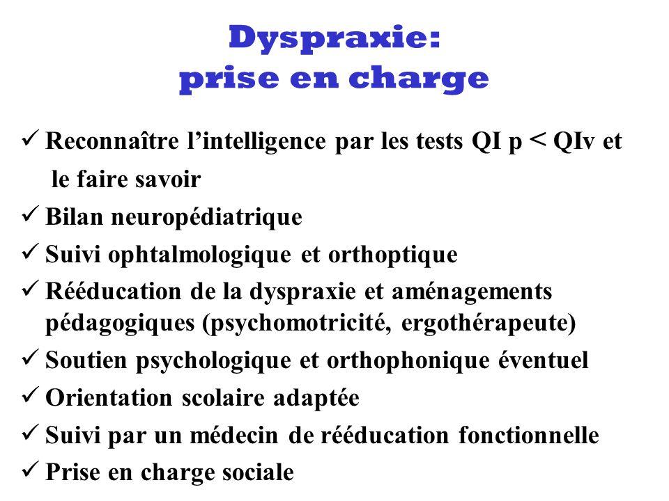Reconnaître lintelligence par les tests QI p < QIv et le faire savoir Bilan neuropédiatrique Suivi ophtalmologique et orthoptique Rééducation de la dy