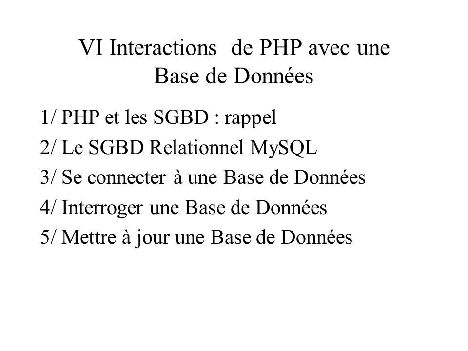 VI Interactions de PHP avec une Base de Données 1/ PHP et les SGBD : rappel 2/ Le SGBD Relationnel MySQL 3/ Se connecter à une Base de Données 4/ Inte