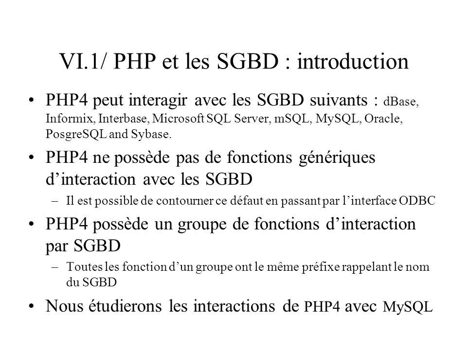 VI.1/ PHP et les SGBD : introduction PHP4 peut interagir avec les SGBD suivants : dBase, Informix, Interbase, Microsoft SQL Server, mSQL, MySQL, Oracl