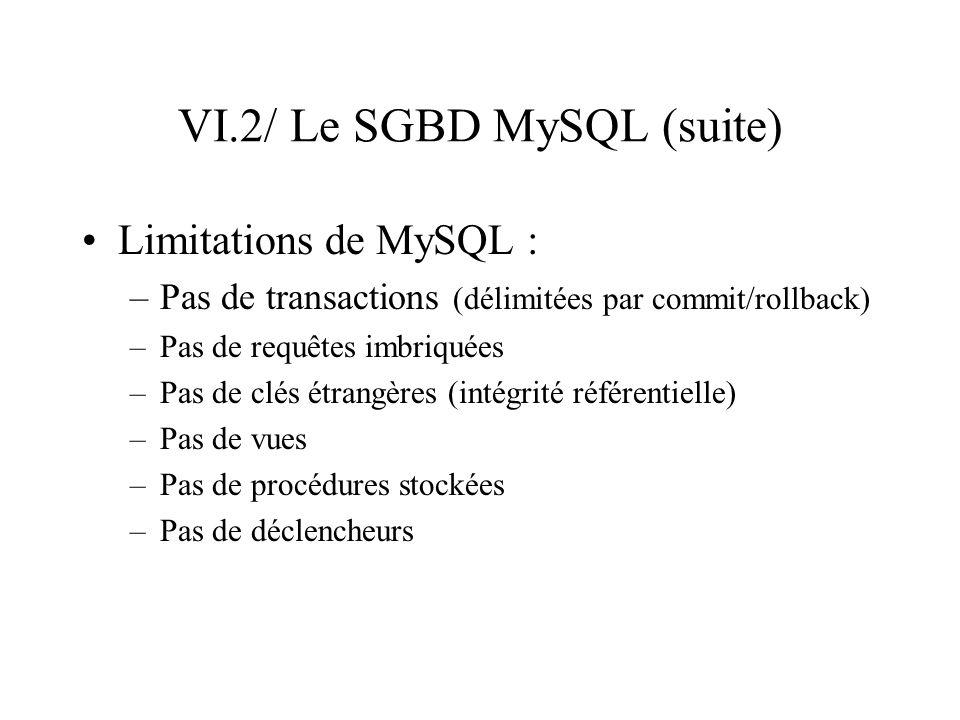 VI.2/ Le SGBD MySQL (suite) Limitations de MySQL : –Pas de transactions (délimitées par commit/rollback) –Pas de requêtes imbriquées –Pas de clés étra