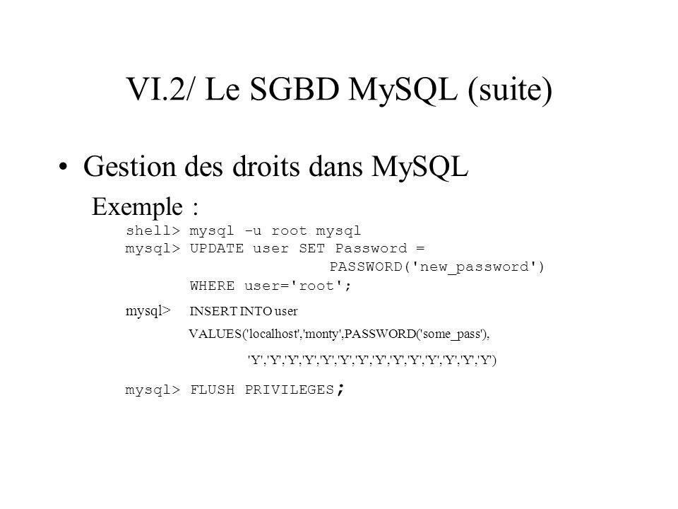 VI.2/ Le SGBD MySQL (suite) Gestion des droits dans MySQL Exemple : shell> mysql -u root mysql mysql> UPDATE user SET Password = PASSWORD('new_passwor