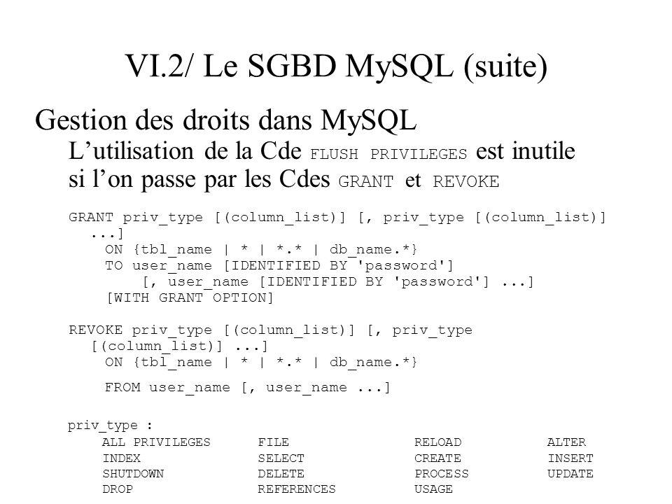 VI.2/ Le SGBD MySQL (suite) Gestion des droits dans MySQL Lutilisation de la Cde FLUSH PRIVILEGES est inutile si lon passe par les Cdes GRANT et REVOK