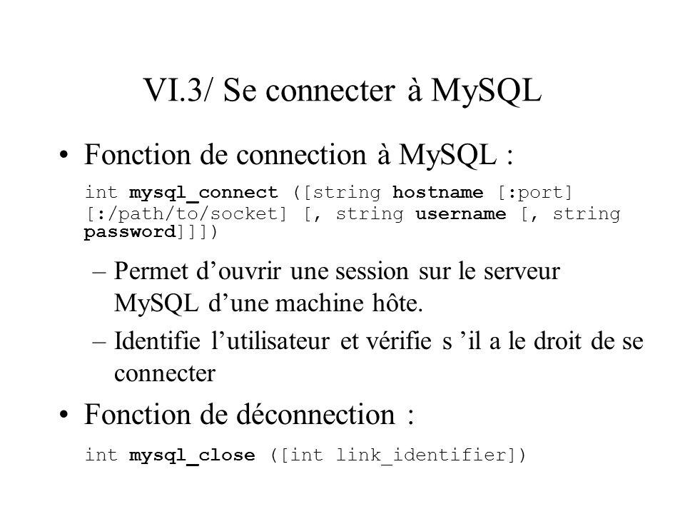 VI.3/ Se connecter à MySQL Fonction de connection à MySQL : int mysql_connect ([string hostname [:port] [:/path/to/socket] [, string username [, strin