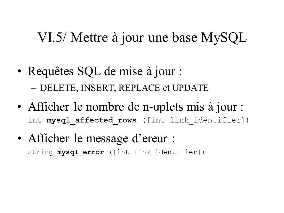 VI.5/ Mettre à jour une base MySQL Requêtes SQL de mise à jour : –DELETE, INSERT, REPLACE et UPDATE Afficher le nombre de n-uplets mis à jour : int my
