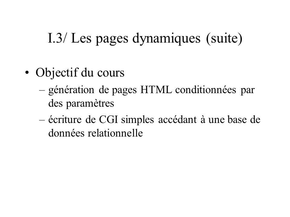 I.3/ Les pages dynamiques (suite) Objectif du cours –génération de pages HTML conditionnées par des paramètres –écriture de CGI simples accédant à une