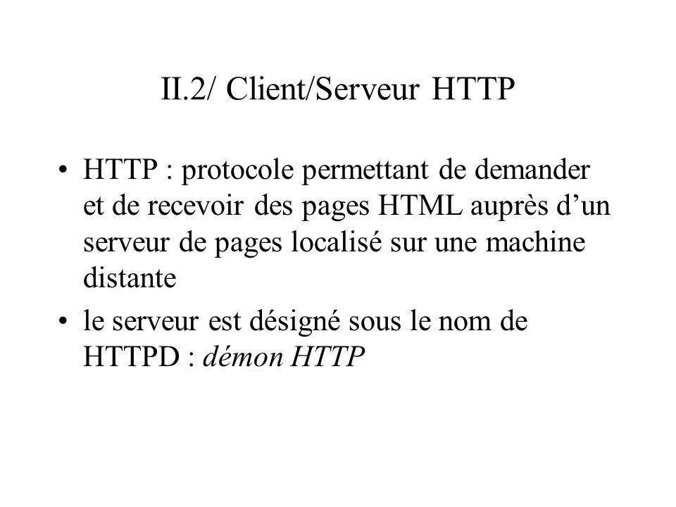 II.2/ Client/Serveur HTTP HTTP : protocole permettant de demander et de recevoir des pages HTML auprès dun serveur de pages localisé sur une machine d
