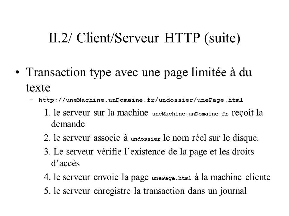 II.2/ Client/Serveur HTTP (suite) Transaction type avec une page limitée à du texte –http://uneMachine.unDomaine.fr/undossier/unePage.html 1. le serve