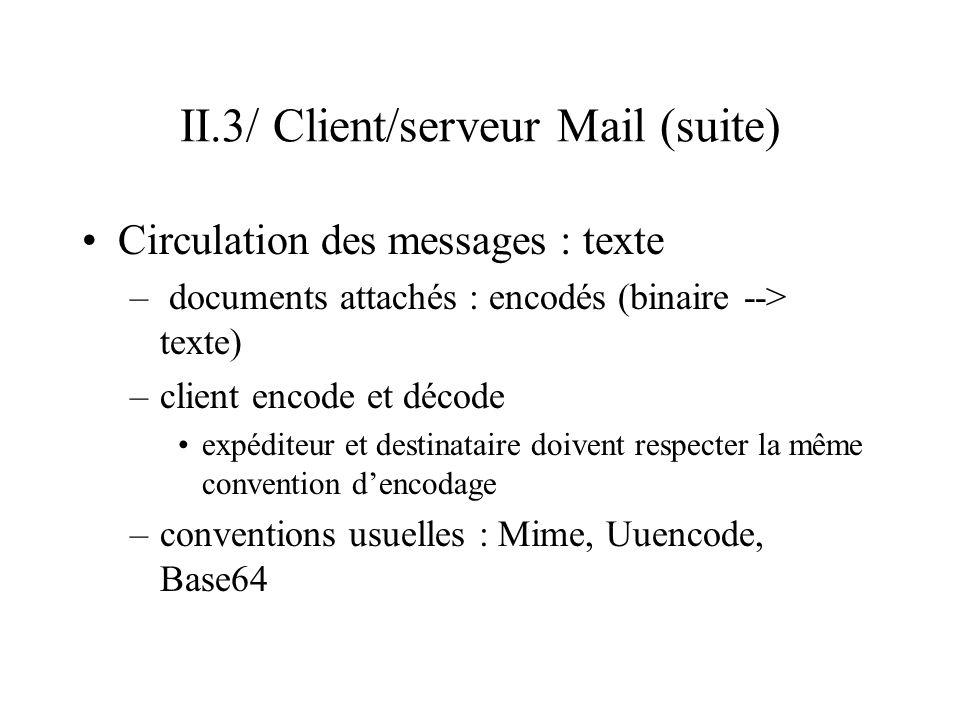 II.3/ Client/serveur Mail (suite) Circulation des messages : texte – documents attachés : encodés (binaire --> texte) –client encode et décode expédit