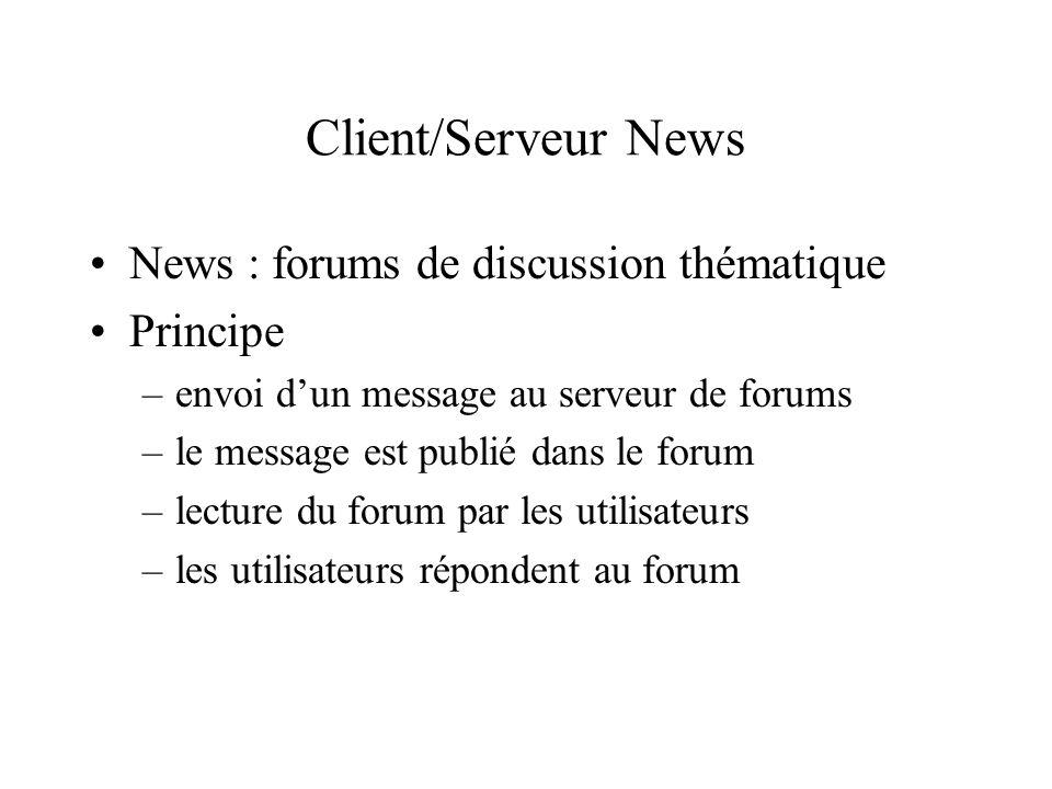 Client/Serveur News News : forums de discussion thématique Principe –envoi dun message au serveur de forums –le message est publié dans le forum –lect