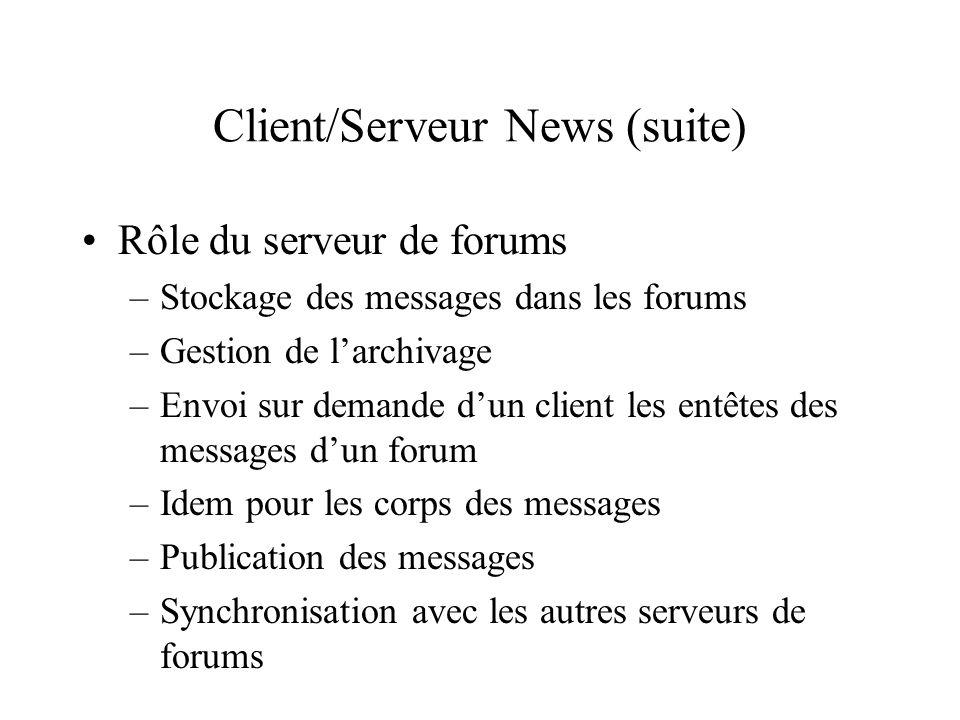 Client/Serveur News (suite) Rôle du serveur de forums –Stockage des messages dans les forums –Gestion de larchivage –Envoi sur demande dun client les