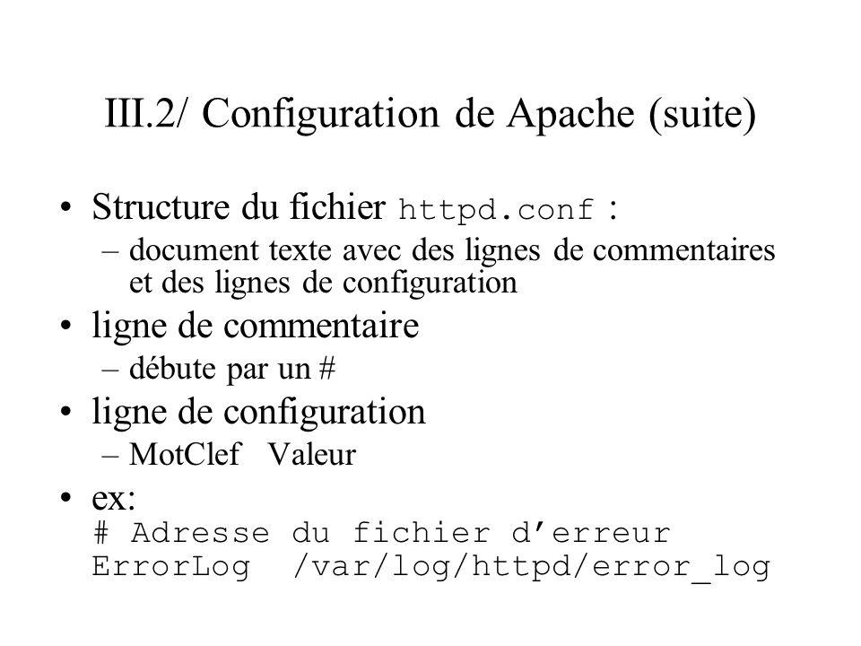 III.2/ Configuration de Apache (suite) Structure du fichier httpd.conf : –document texte avec des lignes de commentaires et des lignes de configuratio