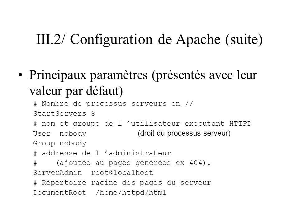 III.2/ Configuration de Apache (suite) Principaux paramètres (présentés avec leur valeur par défaut) # Nombre de processus serveurs en // StartServers