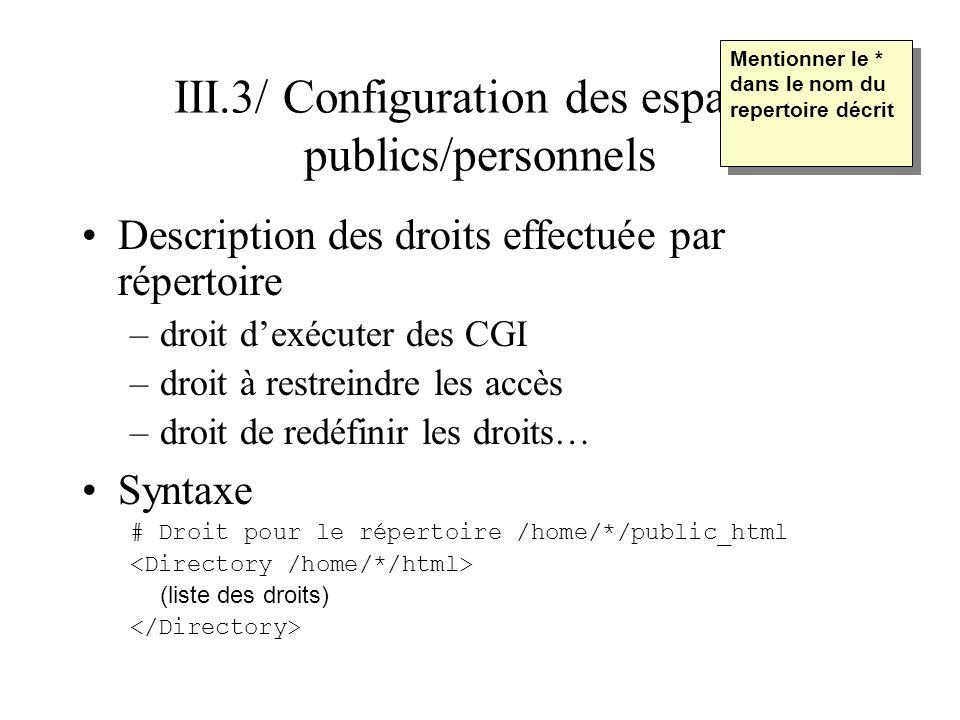 III.3/ Configuration des espaces publics/personnels Description des droits effectuée par répertoire –droit dexécuter des CGI –droit à restreindre les
