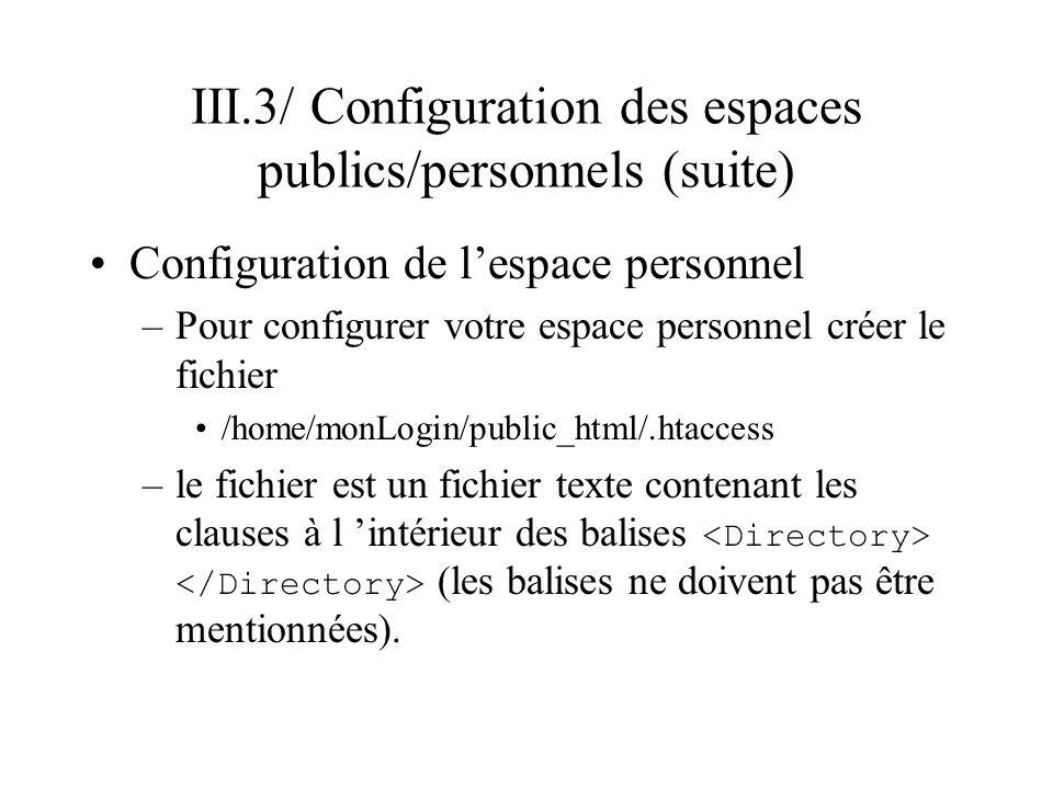 III.3/ Configuration des espaces publics/personnels (suite) Configuration de lespace personnel –Pour configurer votre espace personnel créer le fichie
