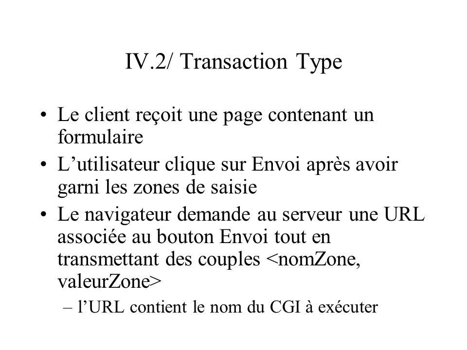 IV.2/ Transaction Type Le client reçoit une page contenant un formulaire Lutilisateur clique sur Envoi après avoir garni les zones de saisie Le naviga