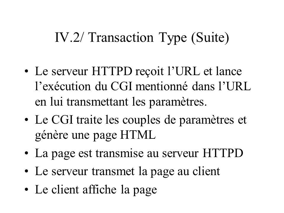 IV.2/ Transaction Type (Suite) Le serveur HTTPD reçoit lURL et lance lexécution du CGI mentionné dans lURL en lui transmettant les paramètres. Le CGI