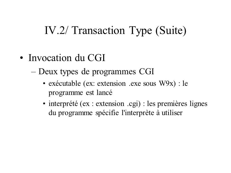 IV.2/ Transaction Type (Suite) Invocation du CGI –Deux types de programmes CGI exécutable (ex: extension.exe sous W9x) : le programme est lancé interp