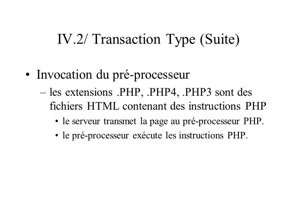 IV.2/ Transaction Type (Suite) Invocation du pré-processeur –les extensions.PHP,.PHP4,.PHP3 sont des fichiers HTML contenant des instructions PHP le s