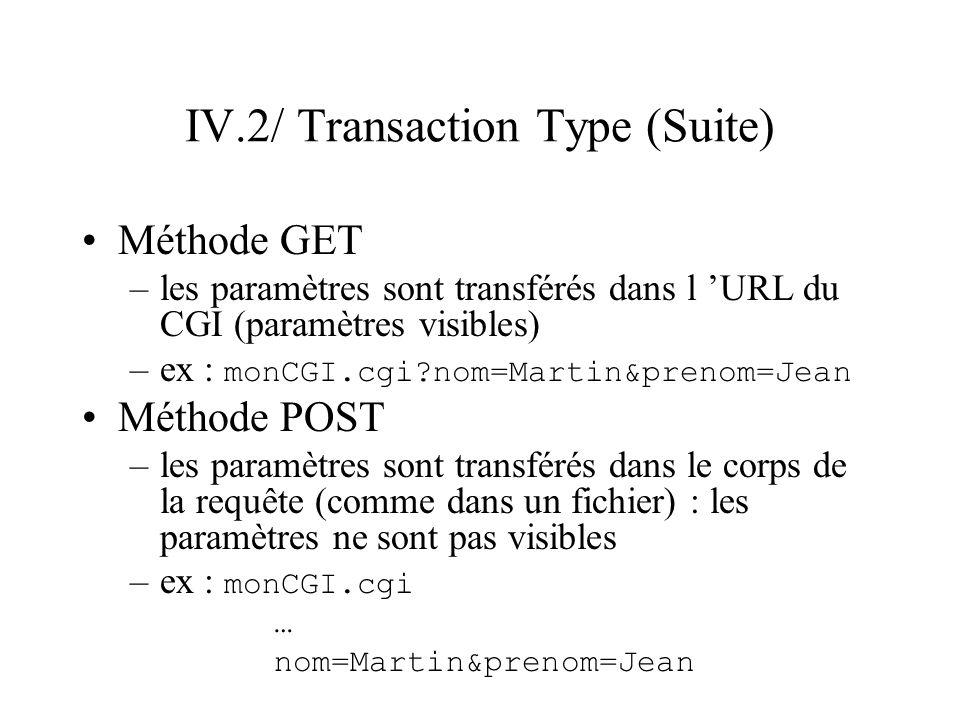 IV.2/ Transaction Type (Suite) Méthode GET –les paramètres sont transférés dans l URL du CGI (paramètres visibles) –ex : monCGI.cgi?nom=Martin&prenom=