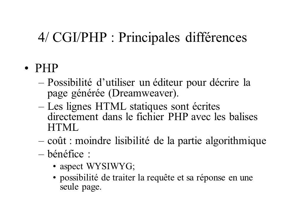 4/ CGI/PHP : Principales différences PHP –Possibilité dutiliser un éditeur pour décrire la page générée (Dreamweaver). –Les lignes HTML statiques sont