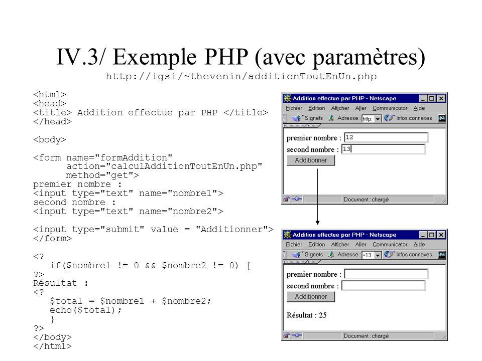 IV.3/ Exemple PHP (avec paramètres) http://igsi/~thevenin/additionToutEnUn.php Addition effectue par PHP <form name=