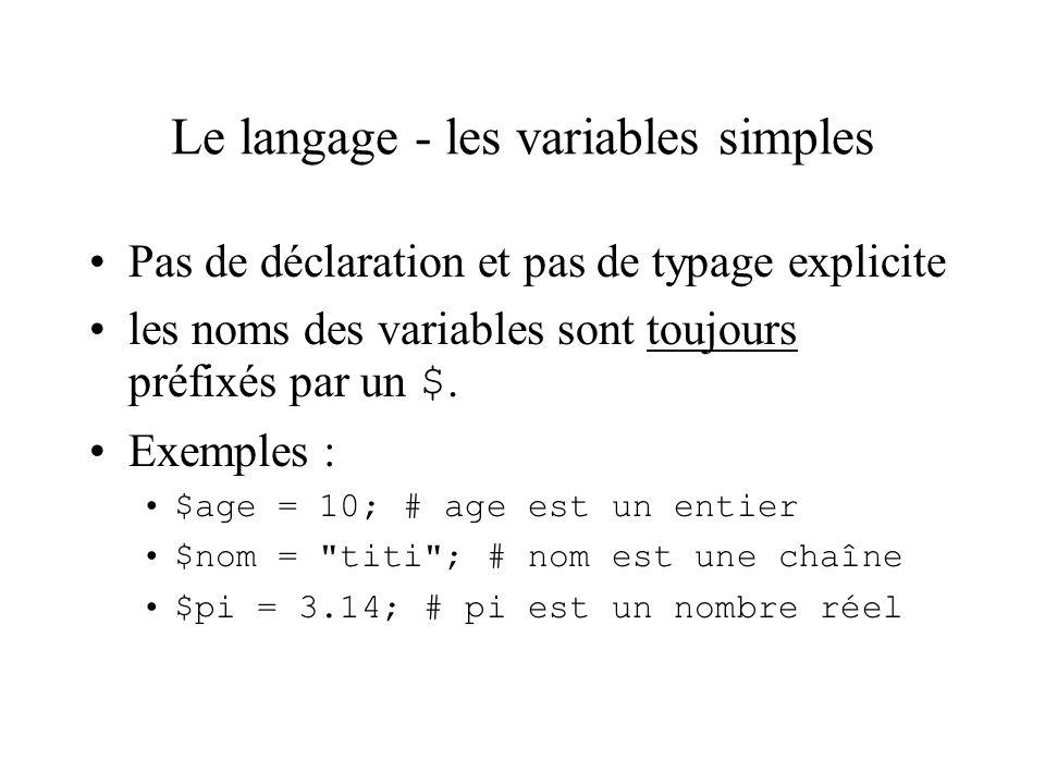 Le langage - les variables simples Pas de déclaration et pas de typage explicite les noms des variables sont toujours préfixés par un $. Exemples : $a