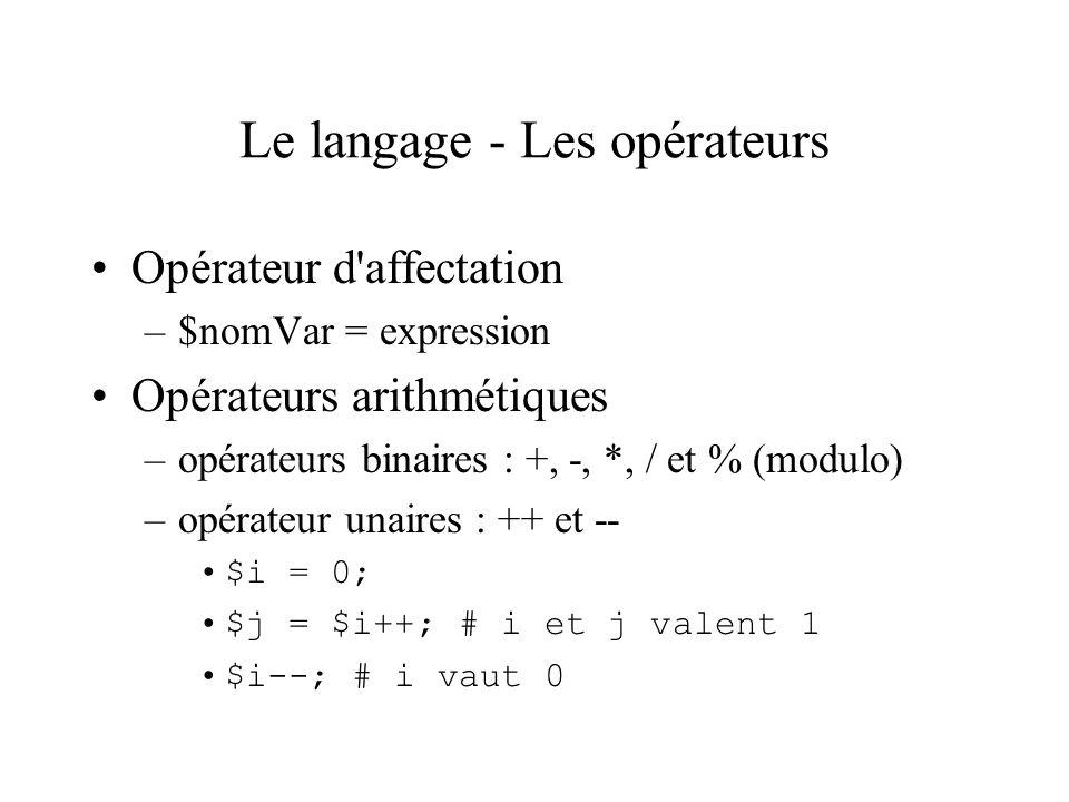 Le langage - Les opérateurs Opérateur d'affectation –$nomVar = expression Opérateurs arithmétiques –opérateurs binaires : +, -, *, / et % (modulo) –op