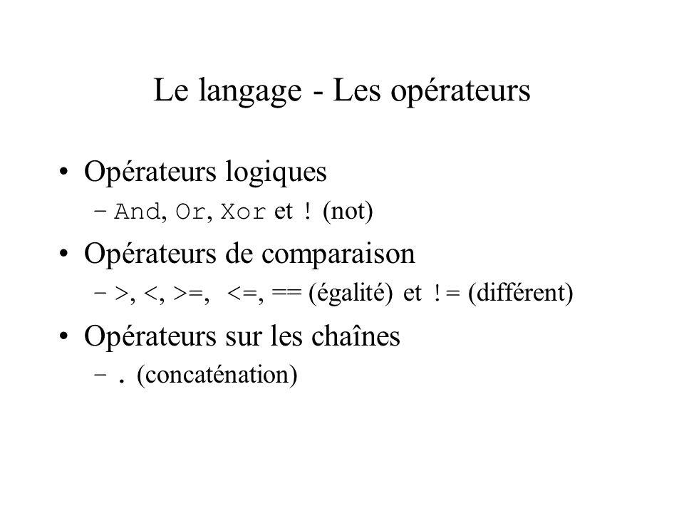 Le langage - Les opérateurs Opérateurs logiques –And, Or, Xor et ! (not) Opérateurs de comparaison –>, =, <=, == (égalité) et != (différent) Opérateur