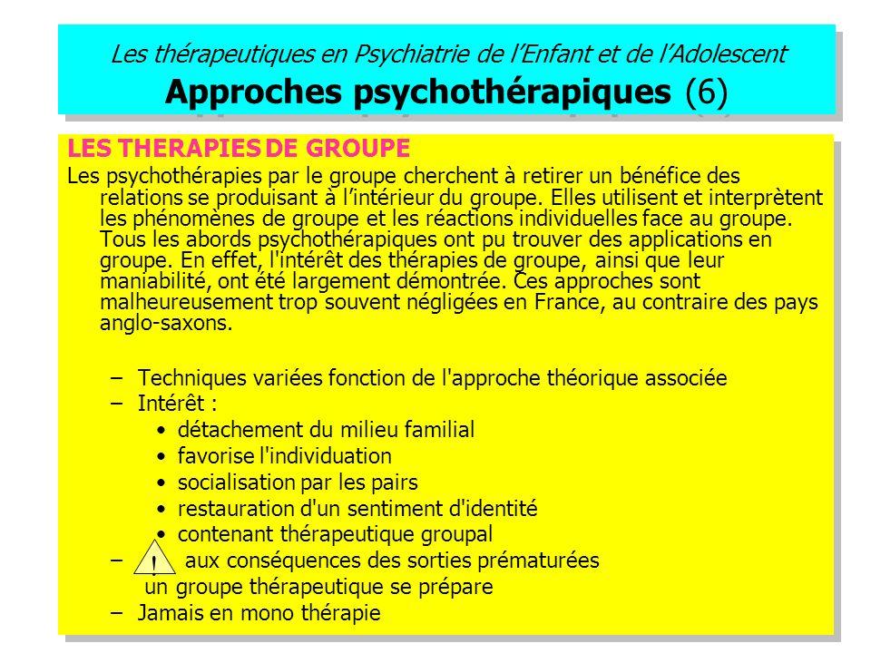 Les thérapeutiques en Psychiatrie de lEnfant et de lAdolescent Approches psychothérapiques (6) LES THERAPIES DE GROUPE Les psychothérapies par le grou