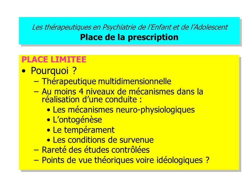 Les thérapeutiques en Psychiatrie de lEnfant et de lAdolescent Place de la prescription PLACE LIMITEE Pourquoi ? –Thérapeutique multidimensionnelle –A
