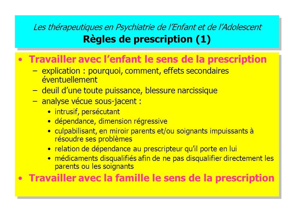 Les thérapeutiques en Psychiatrie de lEnfant et de lAdolescent Règles de prescription (1) Travailler avec lenfant le sens de la prescription –explicat