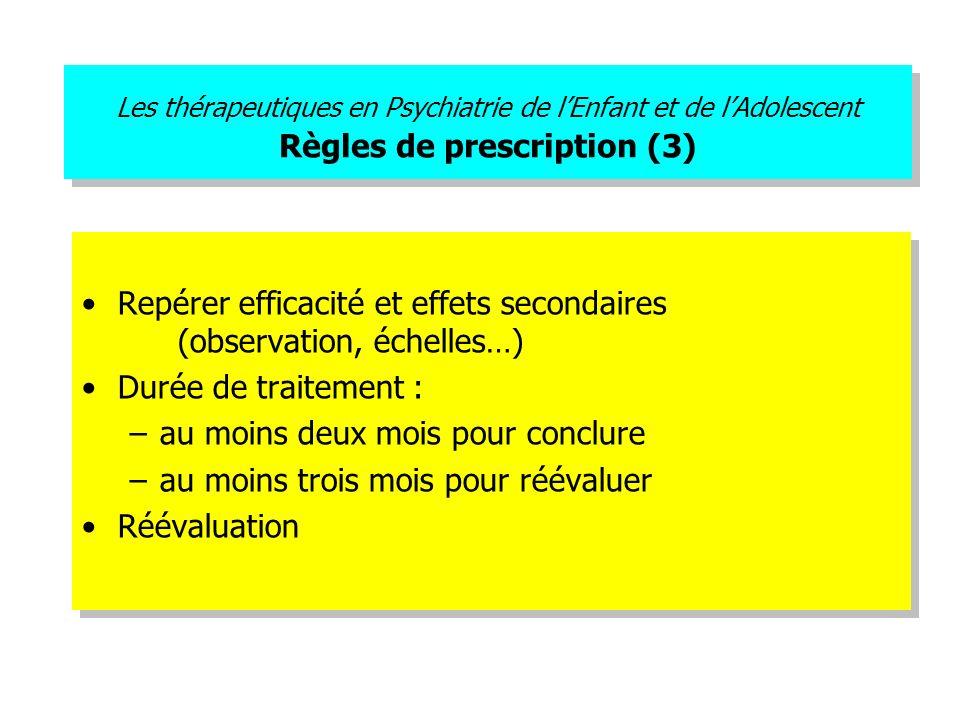 Les thérapeutiques en Psychiatrie de lEnfant et de lAdolescent Règles de prescription (3) Repérer efficacité et effets secondaires (observation, échel