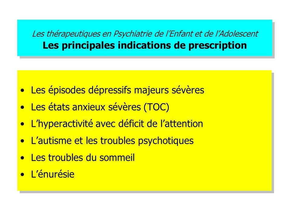 Les thérapeutiques en Psychiatrie de lEnfant et de lAdolescent Les principales indications de prescription Les épisodes dépressifs majeurs sévères Les