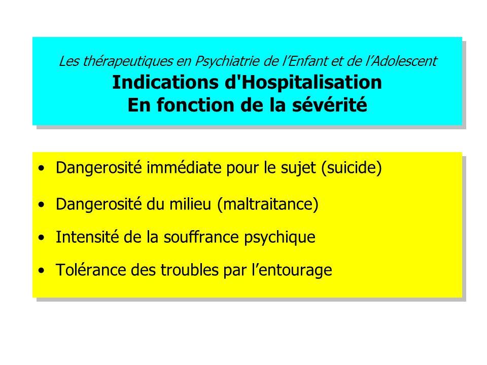 Les thérapeutiques en Psychiatrie de lEnfant et de lAdolescent Indications d'Hospitalisation En fonction de la sévérité Dangerosité immédiate pour le