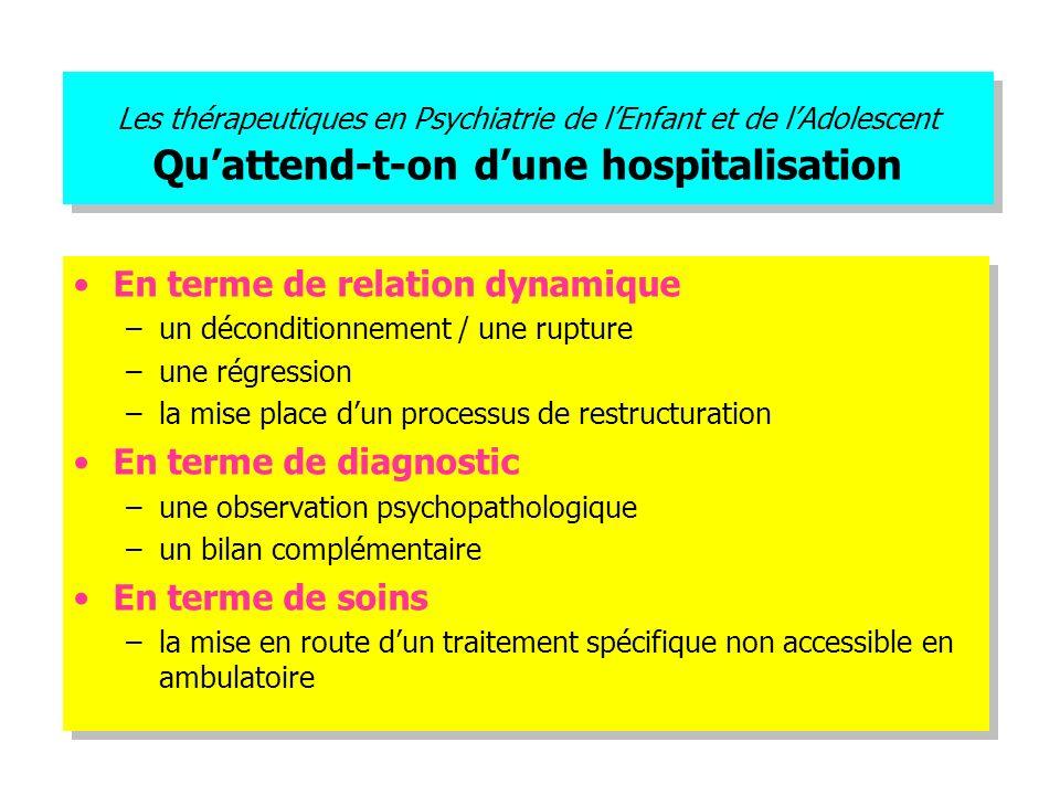Les thérapeutiques en Psychiatrie de lEnfant et de lAdolescent Quattend-t-on dune hospitalisation En terme de relation dynamique –un déconditionnement