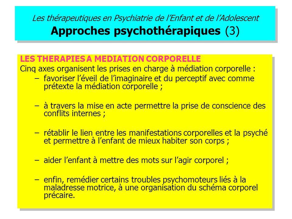 Les thérapeutiques en Psychiatrie de lEnfant et de lAdolescent Approches psychothérapiques (3) LES THERAPIES A MEDIATION CORPORELLE Cinq axes organise
