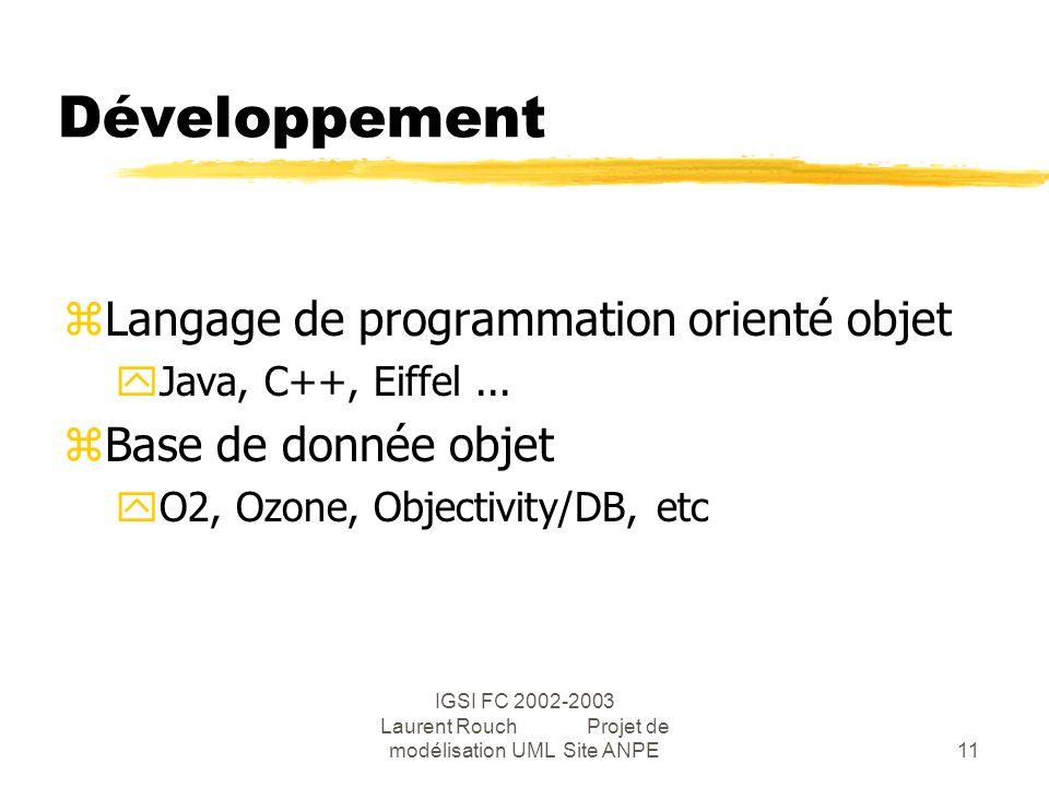 IGSI FC 2002-2003 Laurent Rouch Projet de modélisation UML Site ANPE11 Développement zLangage de programmation orienté objet yJava, C++, Eiffel...