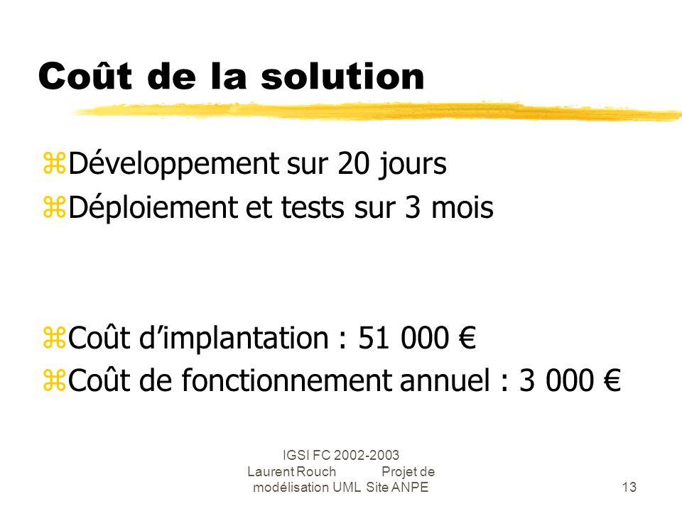 IGSI FC 2002-2003 Laurent Rouch Projet de modélisation UML Site ANPE13 Coût de la solution zDéveloppement sur 20 jours zDéploiement et tests sur 3 mois zCoût dimplantation : 51 000 zCoût de fonctionnement annuel : 3 000