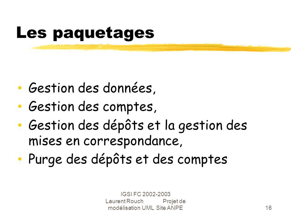 IGSI FC 2002-2003 Laurent Rouch Projet de modélisation UML Site ANPE16 Les paquetages Gestion des données, Gestion des comptes, Gestion des dépôts et