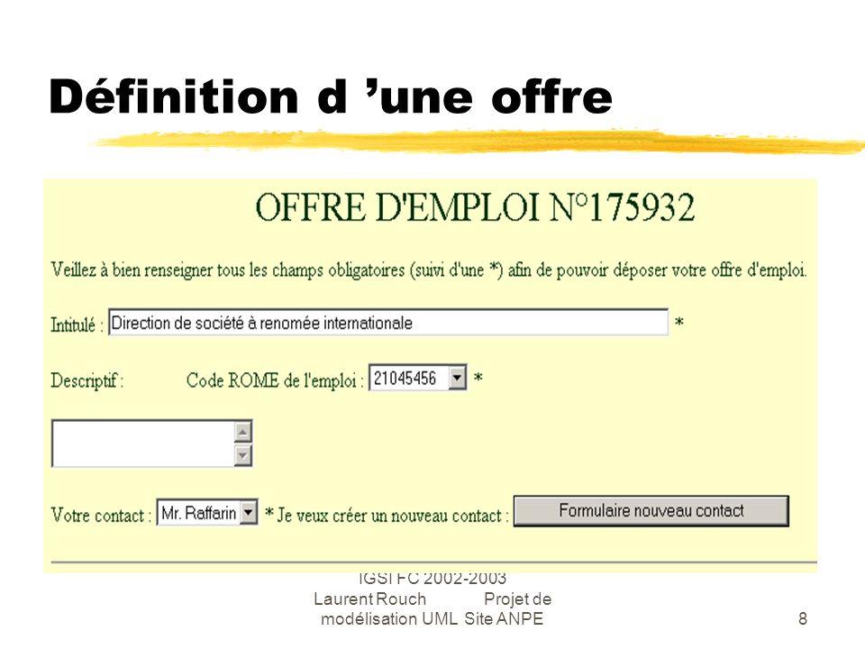 IGSI FC 2002-2003 Laurent Rouch Projet de modélisation UML Site ANPE8 Définition d une offre