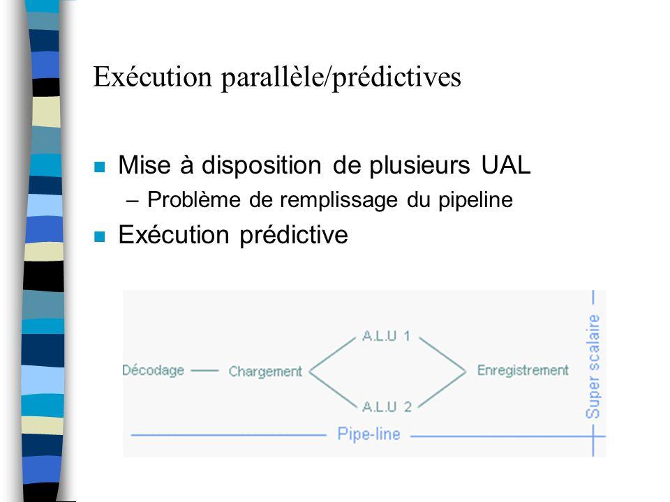 Exécution parallèle/prédictives n Mise à disposition de plusieurs UAL –Problème de remplissage du pipeline n Exécution prédictive
