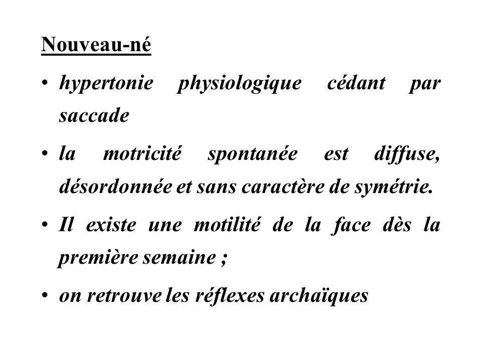 Nouveau-né hypertonie physiologique cédant par saccade la motricité spontanée est diffuse, désordonnée et sans caractère de symétrie. Il existe une mo